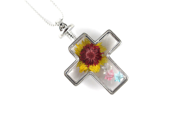 Real Rosy-purple everlasting flower resin necklace silver - Arborvita Real leaf jewellery