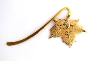 Real Sugar Maple leaf gold bookmark