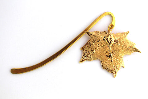 Real Sugar Maple Leaf Bookmark In Gold