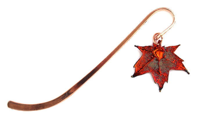 Real Sugar Maple leaf iridescent copper bookmark - Arborvita Real leaf jewellery
