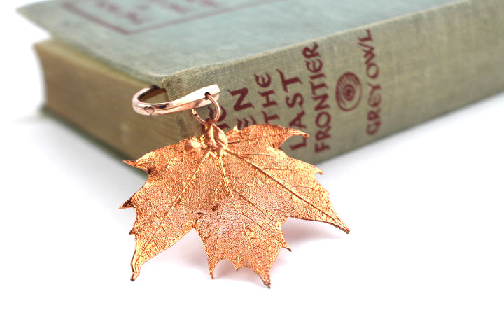 Real Sugar Maple leaf rose gold bookmark - Arborvita Real leaf jewellery