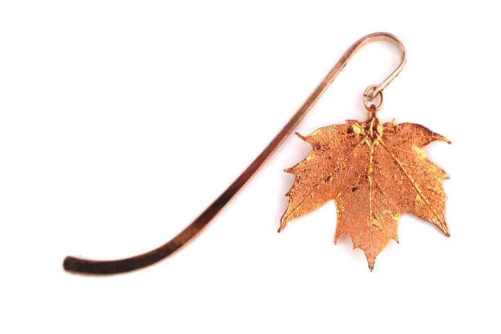 Real sugar maple leaf rose gold bookmark