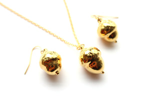 Real acorn gold necklace and earrings set