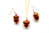 Real acorn iridescent copper necklace and earrings set