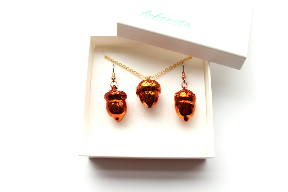 Real acorn iridescent copper necklace and earrings set - Arborvita Real leaf jewellery