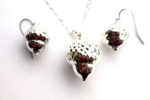 Real acorn silver necklace and earrings set.