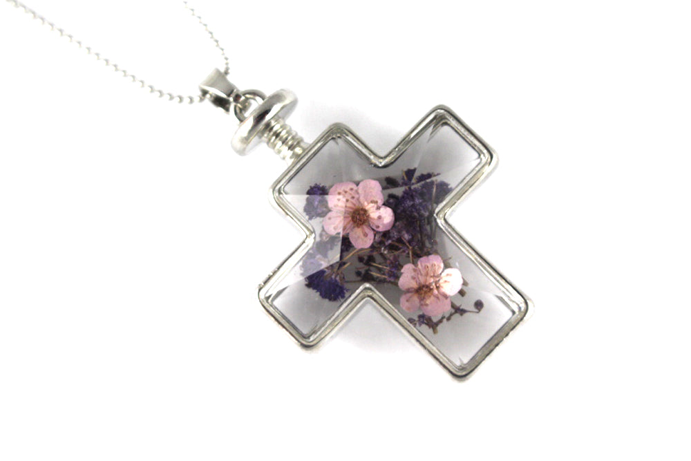 Real Baby's breath pink purple cross resin necklace silver - Arborvita Real leaf jewellery
