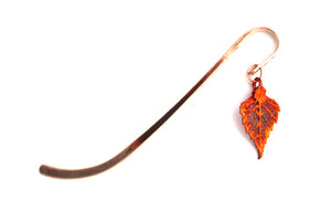 Real Birch leaf iridescent copper bookmark - Arborvita Real leaf jewellery