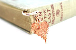 Real birch leaf rose gold bookmark