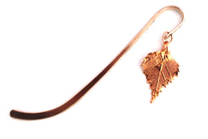 Real Birch leaf rose gold bookmark - Arborvita Real leaf jewellery