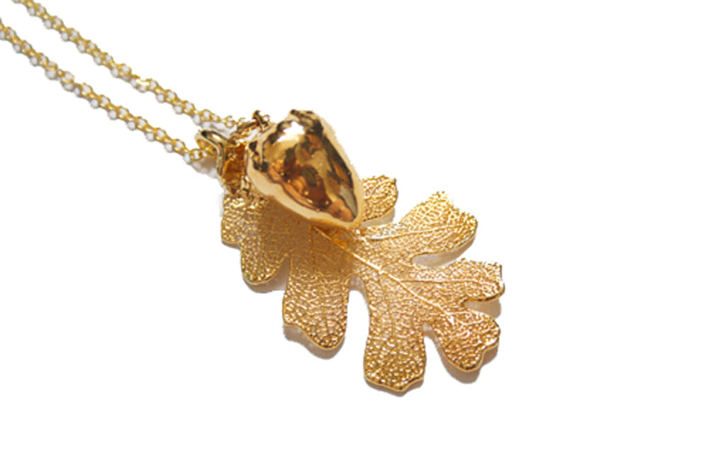 Real Oak Leaf And Acorn Necklace In Gold - Arborvita