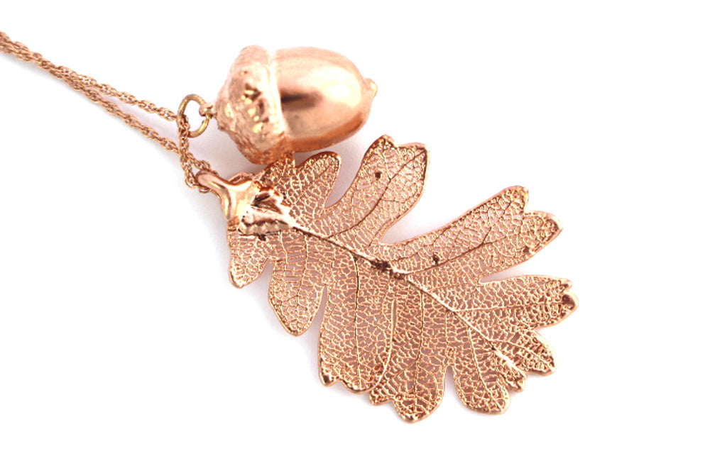 Real Oak Leaf And Acorn Necklace In Rose Gold - Arborvita