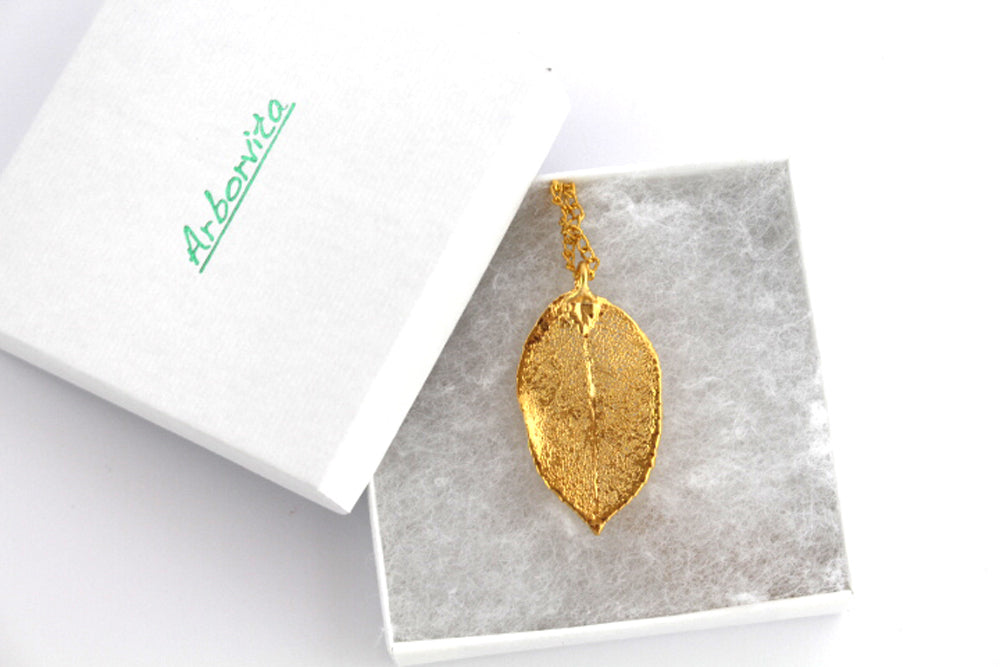 Real Rose leaf gold pendant necklace - Arborvita Real leaf jewellery
