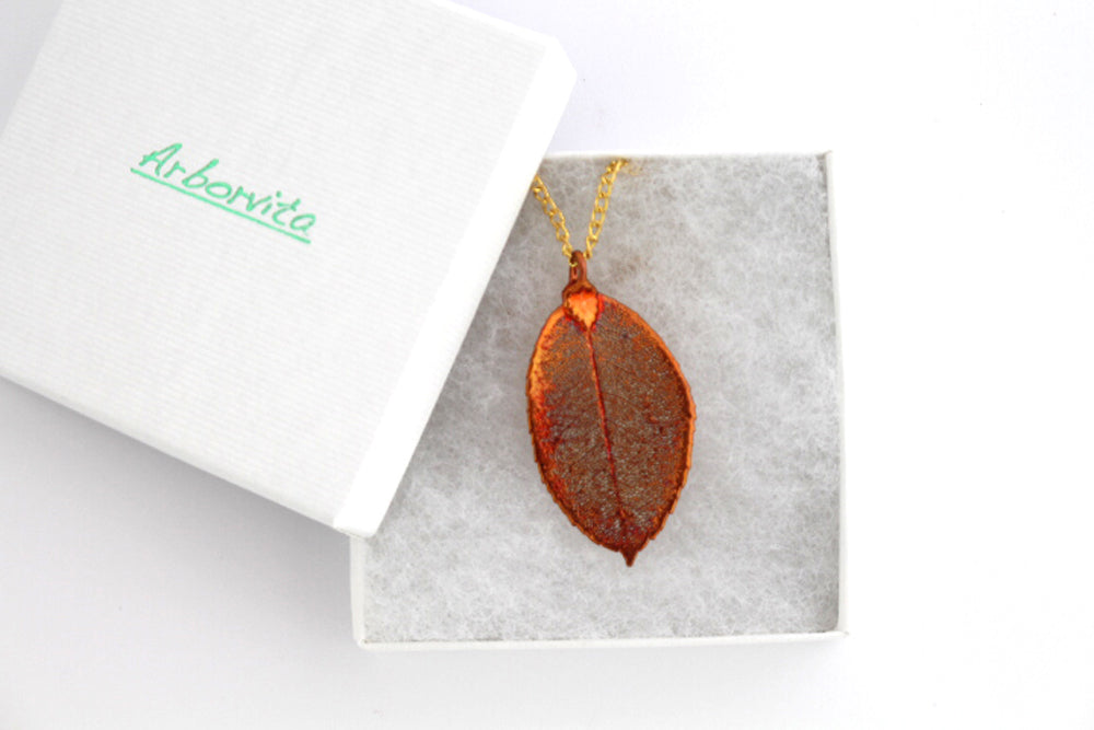 Real Rose leaf iridescent copper pendant necklace - Arborvita Real leaf jewellery