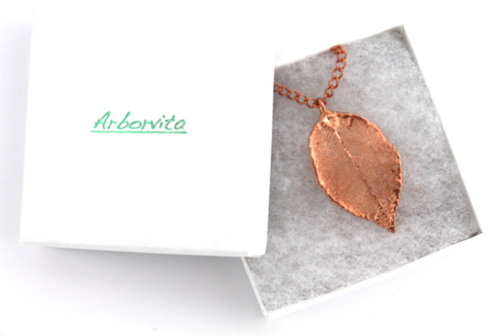 Real Rose leaf rose gold pendant necklace - Arborvita Real leaf jewellery