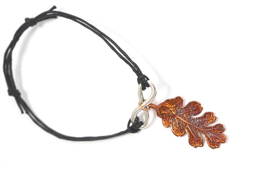 Real Oak leaf bracelet in iridescent copper with black cord - Arborvita Real leaf jewellery