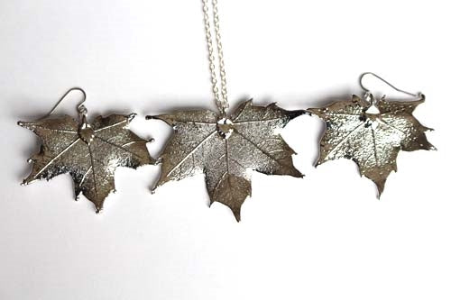 Real Maple leaf silver necklace and earrings set - Arborvita Real leaf jewellery