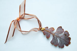 Real Oak leaf iridescent copper ornament