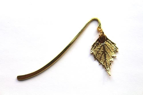 Real Birch leaf gold bookmark - Arborvita Real leaf jewellery