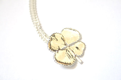 Real Four leaf Clover necklace silver with silver chain