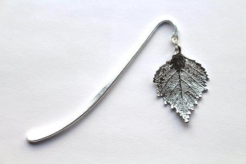 Real Birch leaf silver bookmark - Arborvita Real leaf jewellery