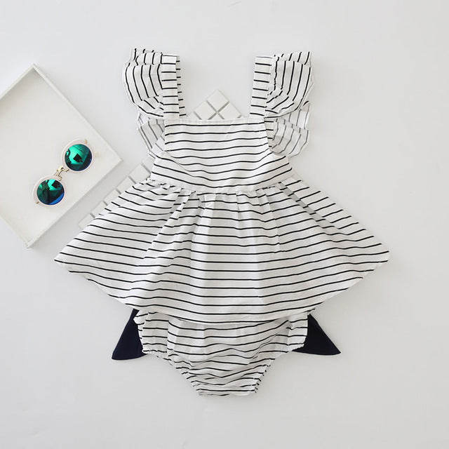 Cotton Stripped Girls Dress