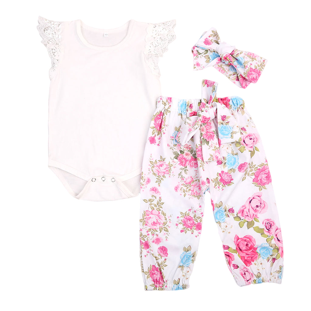 3 pcs set with White Top, Floral Headband and Pants