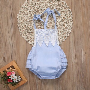 Open Back Romper with Ruffle Bottom and Lace Top