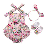 3 pcs Floral Romper, Shoes Headband Set