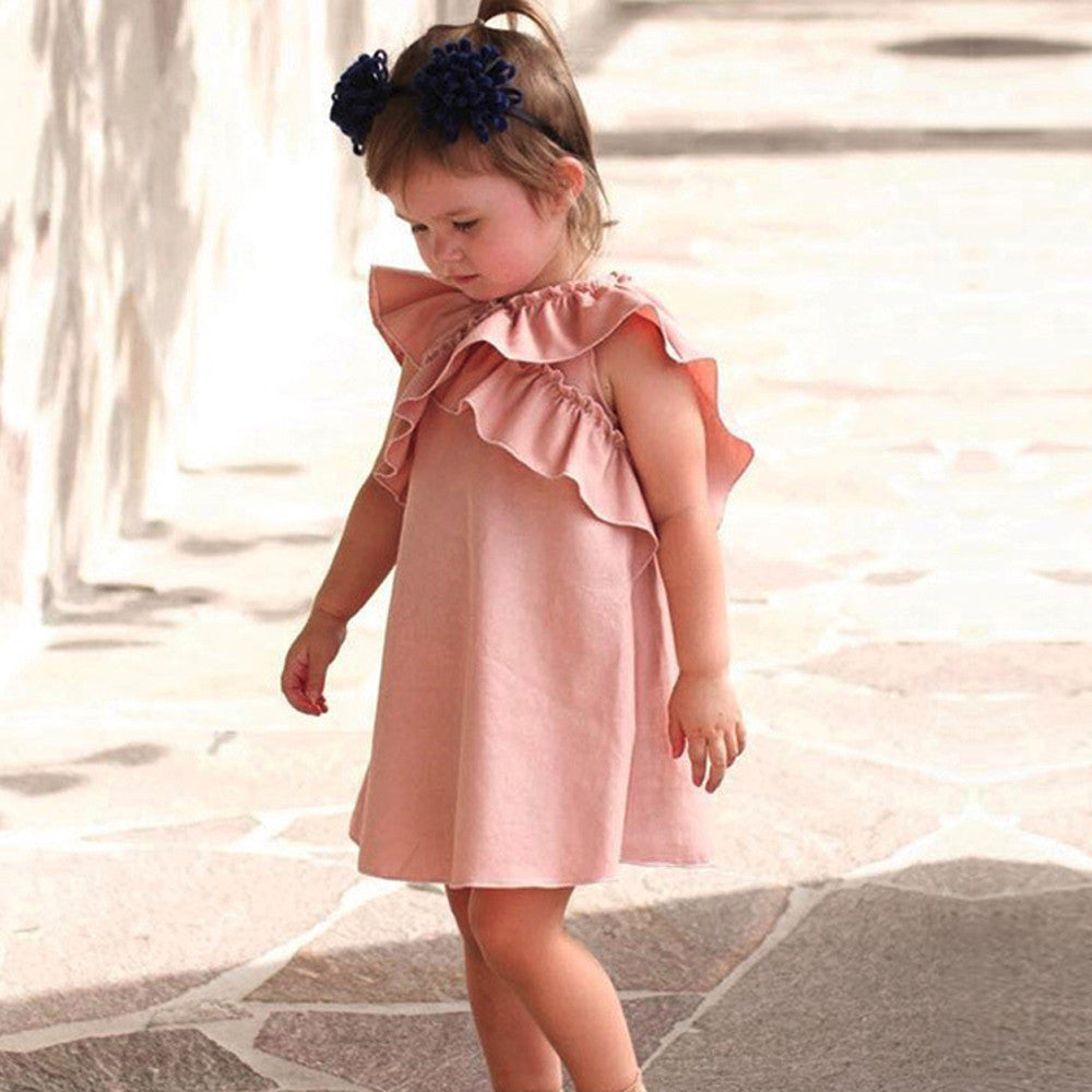 Cross Ruffle Girls Dress