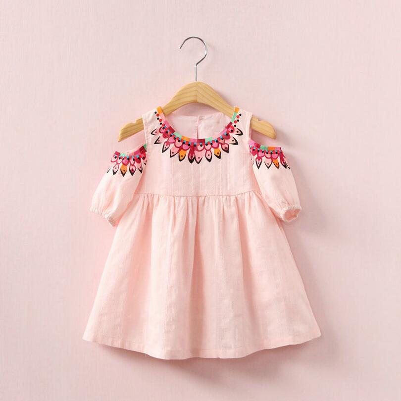 Cotton Half Sleeves Pattern Design Girls Dress