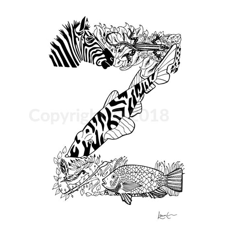 Animal Letter Hand Drawn Original Z / A4 (11.93 X 15.98 Inches) Print