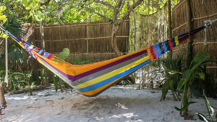 lounging in a mayan hammock