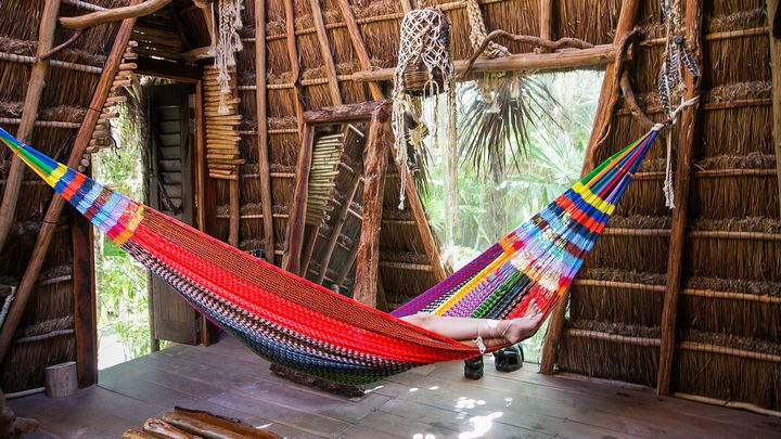 Sleeping in a Mayan hammock