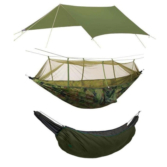 Camping Hammock Kit Camo and Green