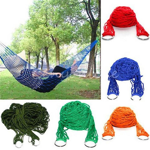 Image of Portable Nylon Mesh Rope Hammock