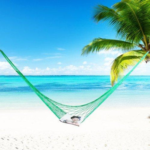 "Image of Green Nylon Rope Hammock (79"" x 31"" Bed Size)"