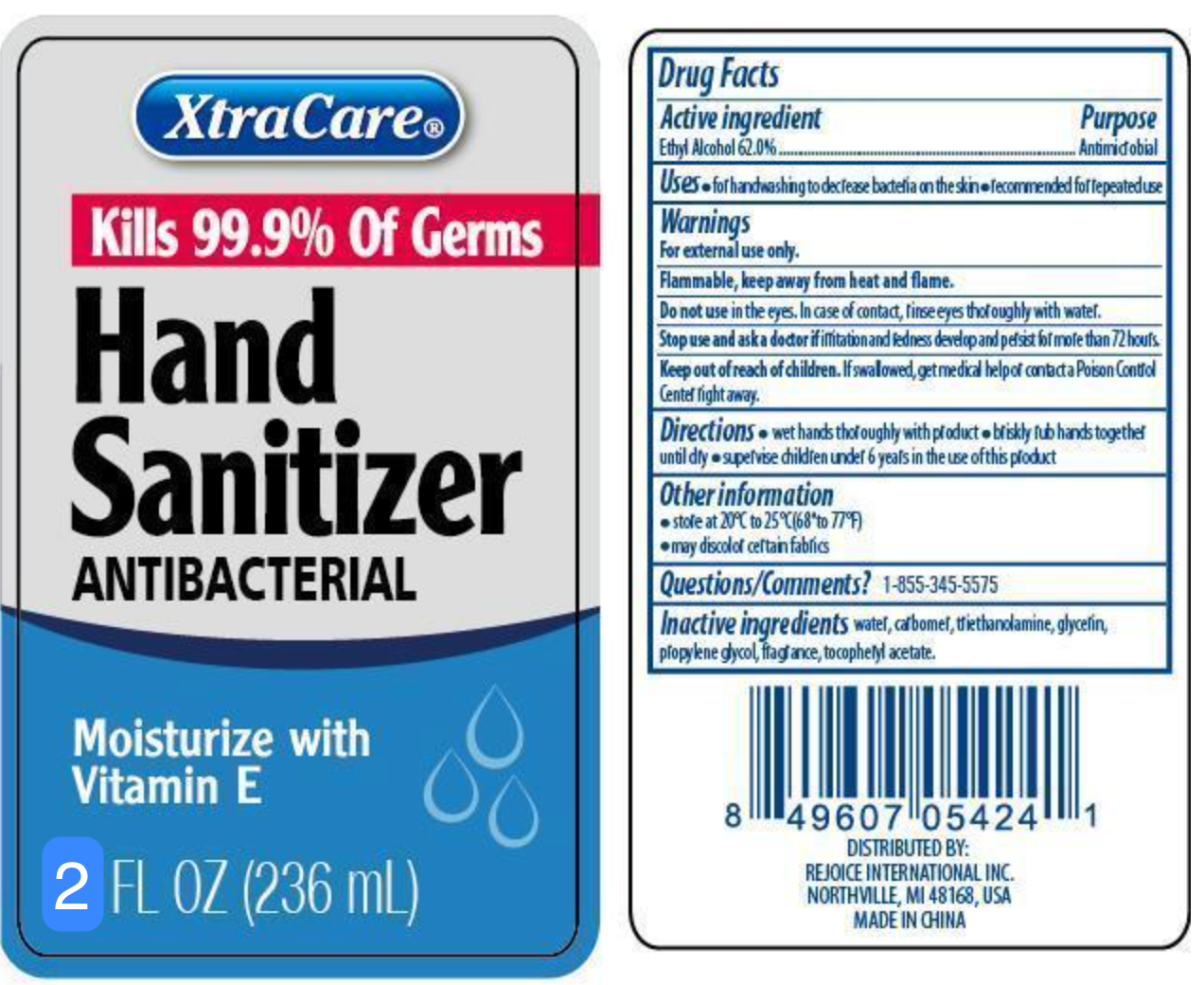 XTRACARE HAND SANITIZER MOISTURIZES WITH VITAMIN E AND ALOE