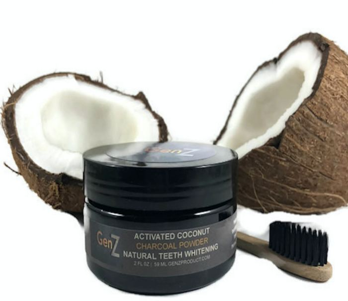 Genz Natural Teeth Whitening Powder - Made With Activated Coconut Charcoal Genzproduct