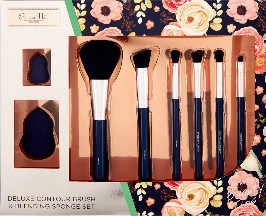 Primrose Hill Cosmetic Contour Brush & Blending Sponge Set Rose Floral
