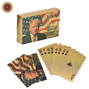 Donald Trump Plastic Playing Cards Poker Gold or Silver Color