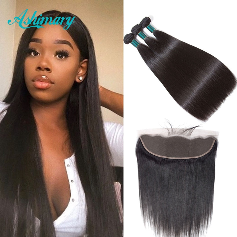 Ashimary Malaysian Straight Hair 13x4 Lace Frontal Closure Remy Human Hair Bundles