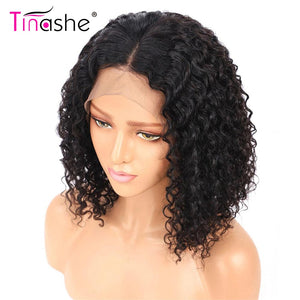 Brazilian Curly Lace Front Human Hair Wigs Short Bob Wig With Preplucked Hairline