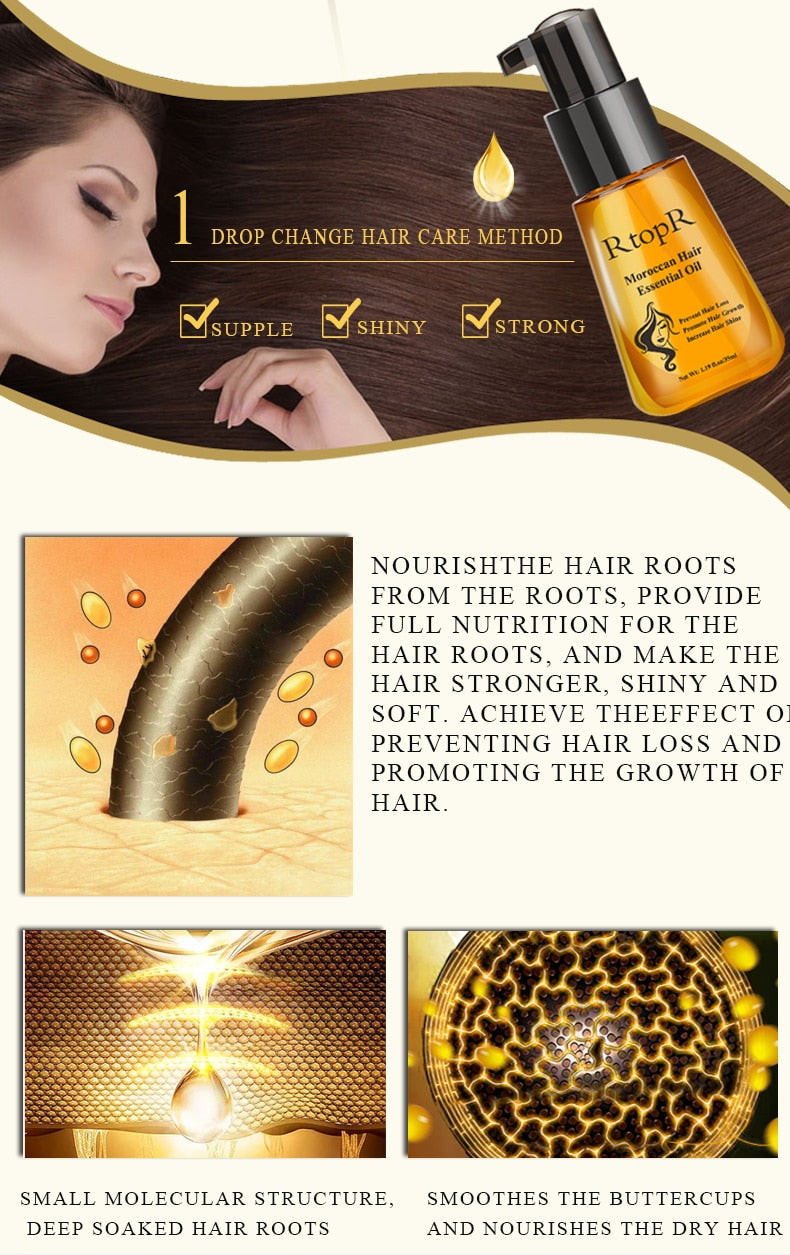 Moroccan Prevent Hair Loss Promotes Hair Growth with Essential Oil