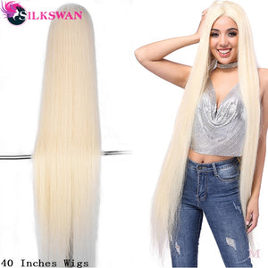 SilkSwan Hair Brazilian Full Lace Wig 613 Blonde Straight Virgin Human Hair Lace 40 Inch