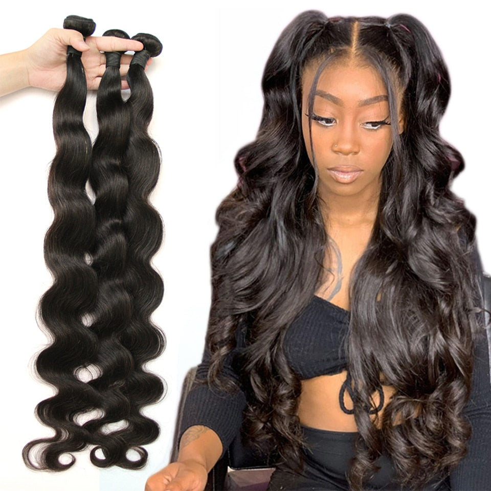 Peruvian Hair Weave Body Wave 100% Human Hair Bundles Natural Remy Hair Extensions