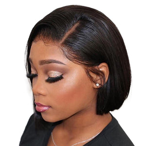 Fashow Short Bob Wigs Brazilian Straight Hair Pixie Cut Lace Front Wigs