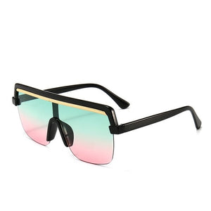 Rimless sunglasses square Oversize 2020 retro designer flat top Eyewear uv400 shades