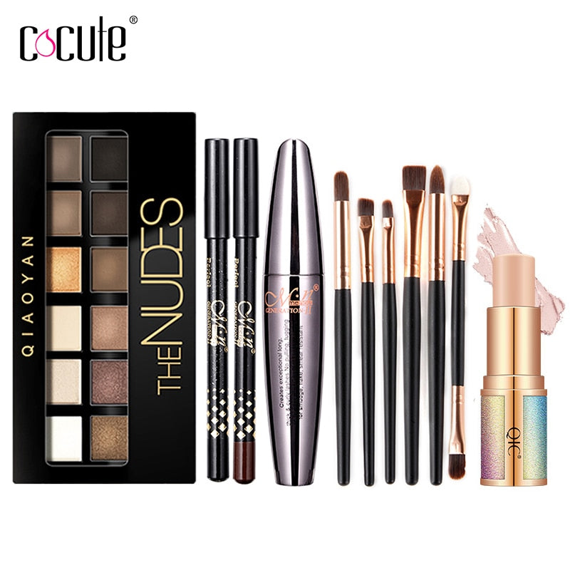Cocute Makeup Set Box Profesional Eyeshadow Palette Eyebrow Pen Mascara Highlighter