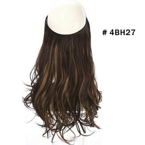 Wave Halo Hair Extensions Invisible Ombre Bayalage Synthetic Natural Flip Hidden Secret Wire Crown Grey Pink